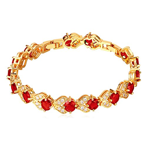 Tennis Bracelets Gold Gemstone (U7 Women Fashion Crystal Birthstone Gemstone Jewelry 18K Gold Chain Ruby Red CZ Cubic Zirconia Tennis Bracelet,6-8 Inch)