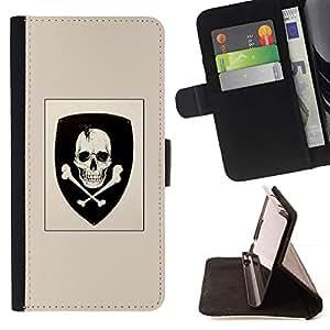 Momo Phone Case / Flip Funda de Cuero Case Cover - Cráneo Escudo de armas del emblema de la bandera pirata - Samsung Galaxy S6 Active G890A