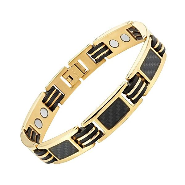 Carbon-Fiber-Titanium-Magnetic-Bracelet-Gold-Tone-Size-Adjusting-Tool-Gift-Box-Included-By-Willis-Judd