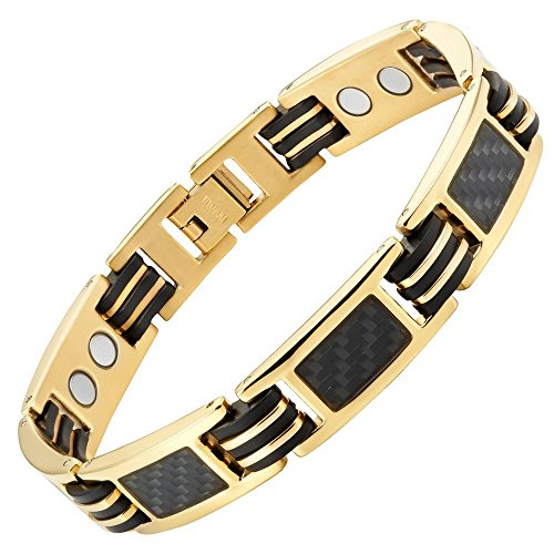 Carbon Fiber Titanium Magnetic Bracelet Gold Tone Size Adjusting Tool and Gift Box Included By Willis Judd (Fiber Carbon Bracelets)