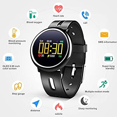 LEKANG Fitness Tracker, Color Activity Tracker, Heart Rate Monitor, Waterproof Walking Calorie Bracelet Compatible with Android iOS Smartphone (Black)