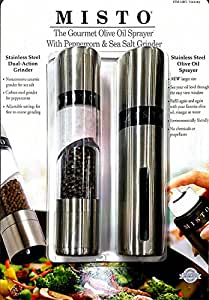 The Gourment Olive Oil Sprayer with Peppercorn and Sea Salt Grinder
