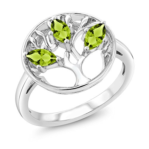 Gem Stone King 925 Sterling Silver Green Peridot 3-Stone Tree Of Life Ring 0.75 Ct Marquise Cut (Size 8)