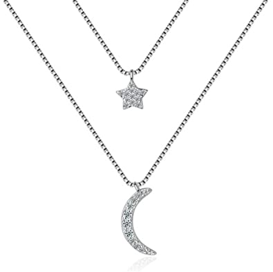 shawa Cadena de mujer plata de ley 925 collares cristales + ...