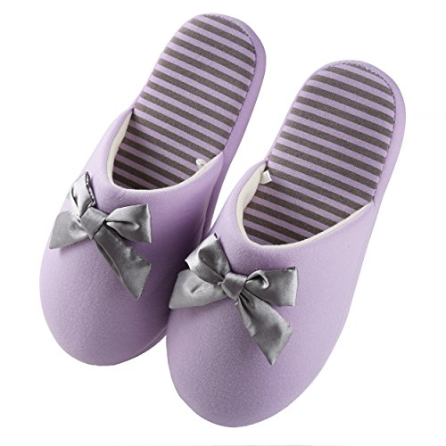 Aerusi Womens Fleece and Microfiber Striped Slippers Lilac Hrhf4