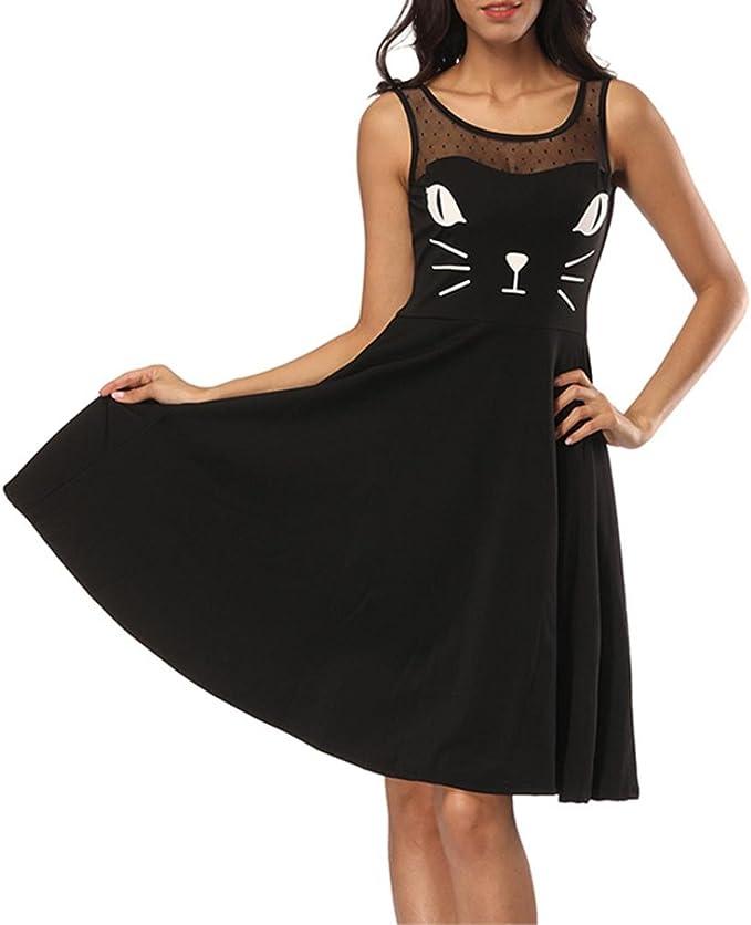 SANFASHION Bekleidung - Vestido - Trapecio o Corte en A - Sin Mangas - para Mujer Negro Large: Amazon.es: Ropa y accesorios
