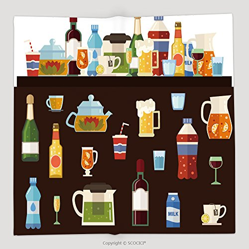 Custom Alcoholic Drinks And Non Alcoholic Drinks With Bottles And Glasses Isolated Vector Set Of 377809918 Soft Fleece Throw Blanket