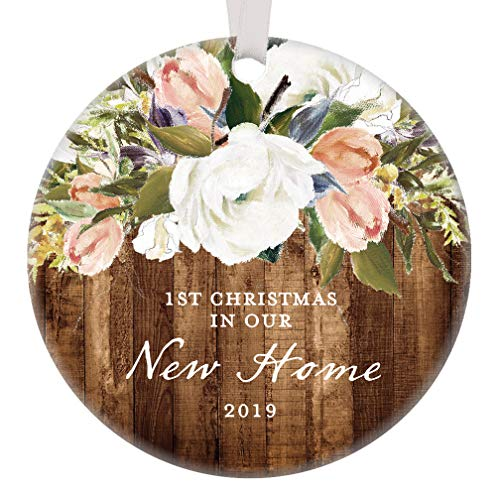 (New Home Christmas Ornament 2019 First Christmas in Our New House Housewarming Holiday Gift Pretty Rustic Modern Farmhouse Floral Present 3