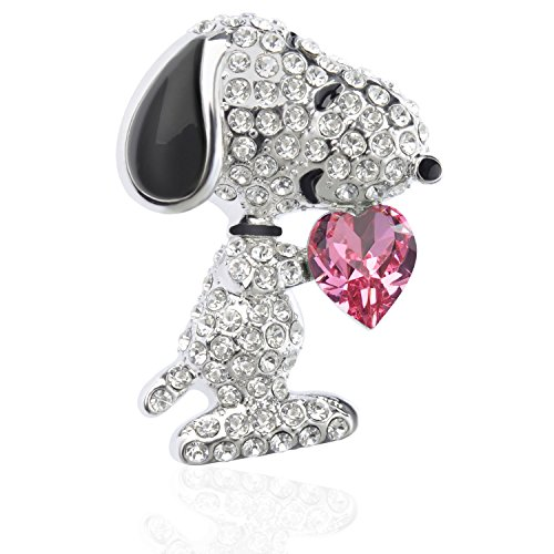 "TAGOO Noble Peacock Bird Swan Vintage Monkey Seahorse Dolphin Snoopy Animal Brooches Pins Corsages Scarf Clips in Crystal Unisex Women&Men (Snoopy Design Pink Heart 1.26""H) from Tagoo"