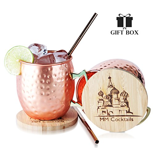 Moscow Mule Mugs - Gift Box Set of 2 Cups with BONUS Coasters + Copper Straws - Handcrafted Solid Copper Hammered 16oz Classic Mugs - MM Cocktails