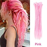 AOSOME 20 Inch Pink Color Dreadlocks Extensions Braids 20pcs All Handmade Crochet Synthetic Hair Extension