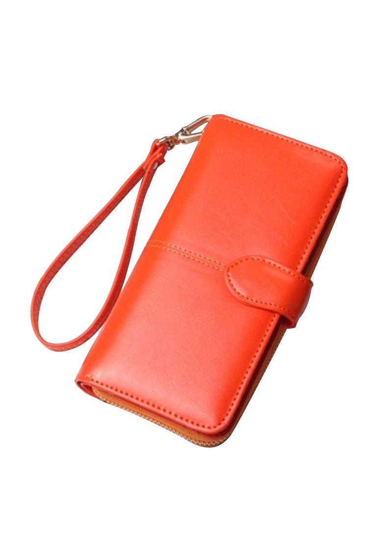 Women's Blocking Leather Wallet Large Capacity Wristlet Handbag Clutch Oragne