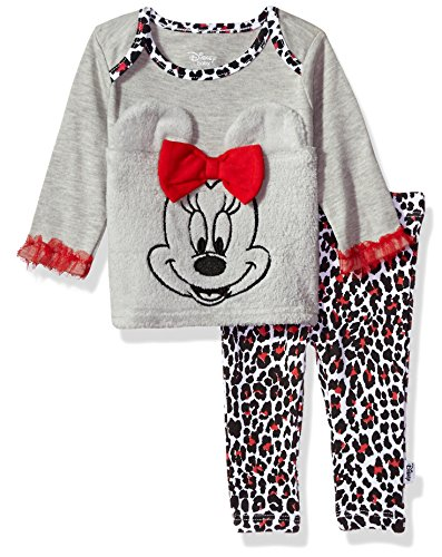 Disney Baby Girls' Minnie Mouse 2-Piece Pant Set, Lightheather Grey, 3-6 Months