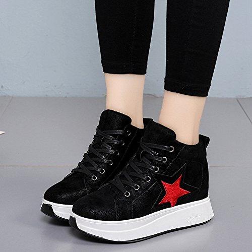 Btrada Moda Donna Hi-top Fondo Spesso Sneaker Wedge Nascosto Lace-up Scarpe Sportive Casual Nero