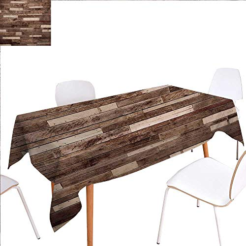 familytaste Wooden Dinning Tabletop Decoration Wall Floor Textured Planks Panels Picture Art Print Grain Cottage Lodge Hardwood Pattern Table Cover for Kitchen 70