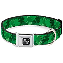 Dog Collar Seatbelt Buckle St Pats Stacked Shamrocks Greens 16 to 23 Inches 1.5 Inch Wide