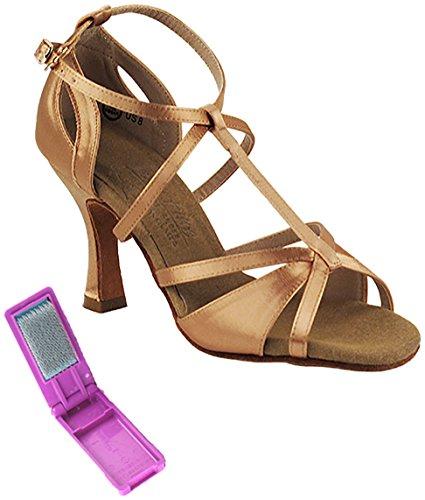 Very Fine Ballroom Latin Tango Salsa Dance Shoes for Women S1002 3 Inch Heel + Foldable Brush Bundle