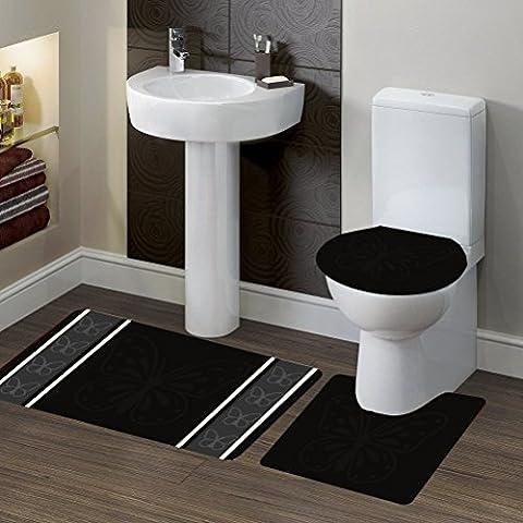 GorgeousHomeLinen (#7) 3-Piece Bathroom Bath Non-Slip Contour Mat Rug Set with Toilet Lid Cover (Butterfly (Bathroom Rugs Contour)
