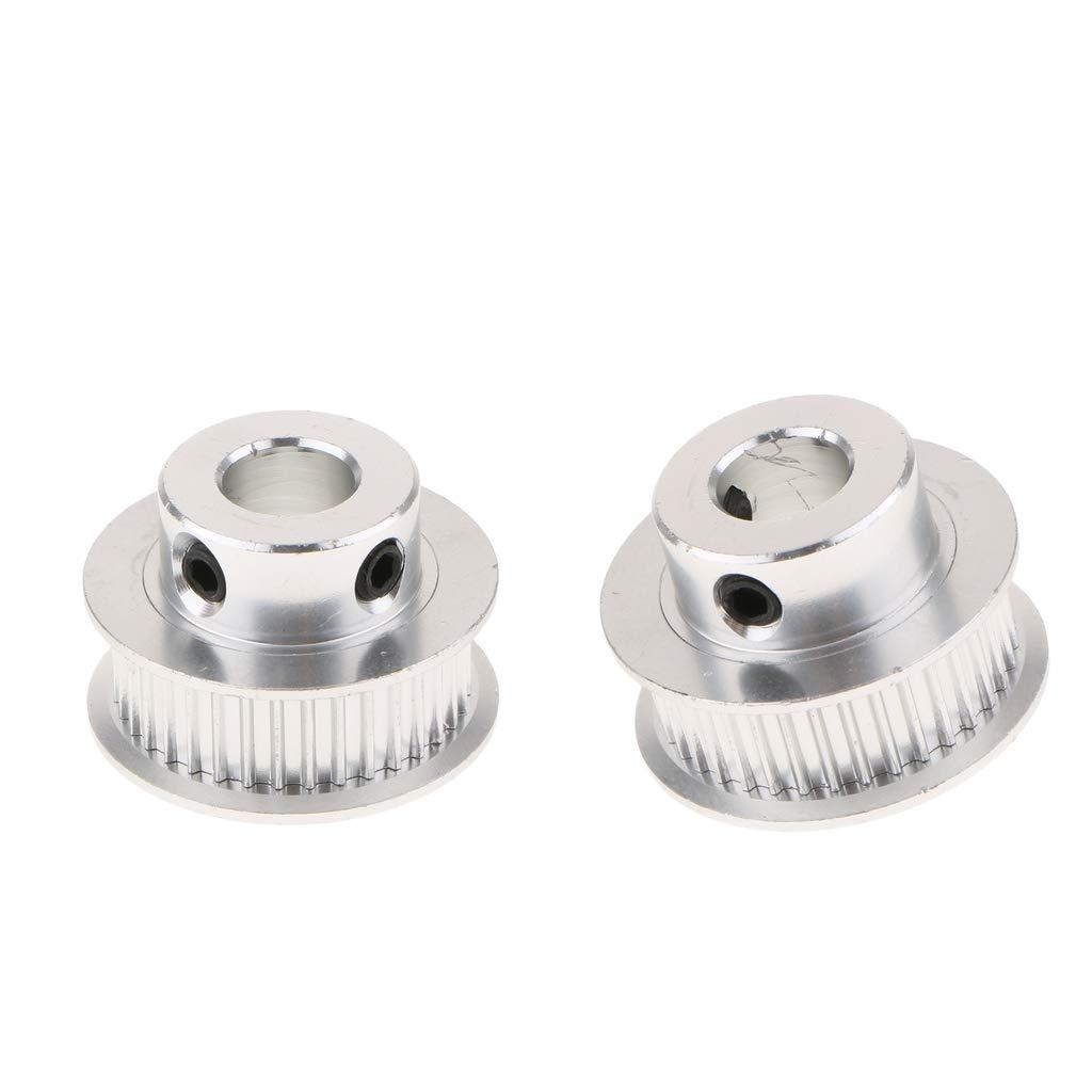 perfk 2 Stück Zahnriemen Riemenscheibe 36 Zähne Bohrung 2mm Riemen 3D Drucker Teile