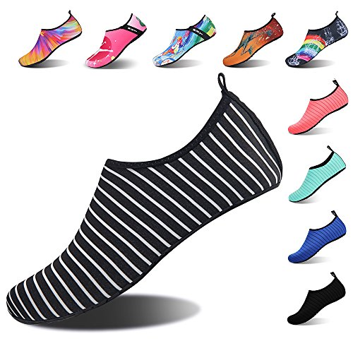 IceUnicorn Water Shoes Mens Womens Outdoor Swim Barefoot Socks Skin Shoes for Beach Running Snorkeling Surfing Diving Yoga Exercise White Black I3uObc