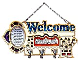 Decorative Key Holder Wall Mounted ''Welcome'' With 3 Hooks & Home Blessing Jerusalem Holy Land Gift