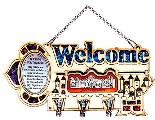 Decorative Key Holder Wall Mounted ''Welcome'' With 3 Hooks & Home Blessing Jerusalem Holy Land Gift by Talisman4U