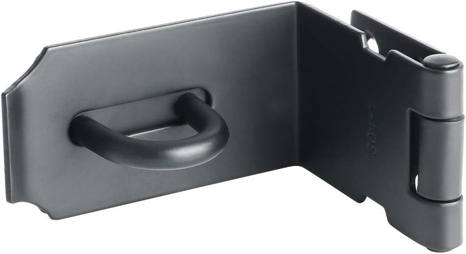 Sayayo Cerradura de la cerradura de la cerradura de la cerradura de la cerradura de la puerta del cerrojo de 90 grados 5 pulgadas, acero inoxidable mate negro, EMS9KB-5