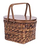 Cheap BirdRock Home Seagrass and Abaca Picnic Basket with Wood Lid | Hand Woven | Espresso | Decorative Latch | Wooden Top | Home Décor | Folding Handles