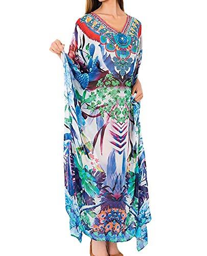 (Bigbigfuture Women's Print Kaftan Loungewear Caftan Beach Long Dress Bikini Swimsuit Cover up Swimwear (Print F))