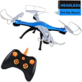 Luxon RC Helicopter Drone 2.4G 4CH 6-Axis Gyro Quadcopter with Headless and headed, One Key Return, 3D Flips
