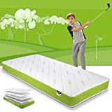 JAY-BE Simply Kids Anti-Allergy Foam Free Sprung Mattress, Steel Spring with Hypoallergenic Airflow Fibre, White/Green, Single