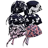 Diamond Plate Skull Cap for Fashion and Keeping Sweat and Hair Out of the Face, Cotton, Assorted Set of 6