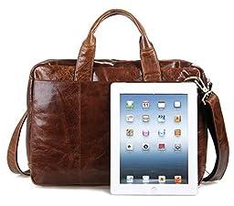 DRF Men\'s Messenger Bag Vintage Genuine Leather Briefcase Business Laptop Bag BG-71 (Brown)