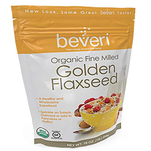 Beveri Nutrition-Organic Golden Milled Flax Seed-Fine Milled Seed-A Natural, Essential High-Protein + Fiber Superfood-1 Pound Bag (Packaging May Vary) ()