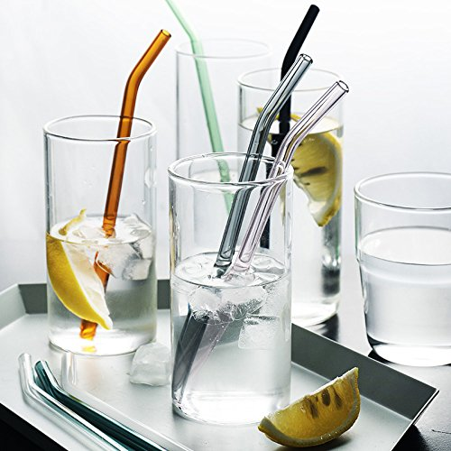 Set of 6 with 3 Cleaning Brushes Orange Green GINOVO 200mm 10mm Reusable Bent Glass Drinking Straws Grey Purple Pink Multi Color Blue G-GS-M