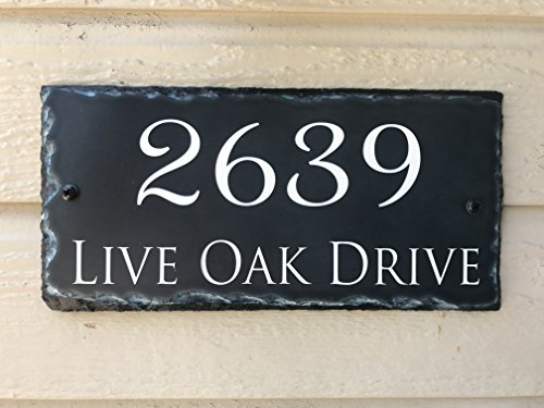 Fully Customizable Slate Home Address Plaque