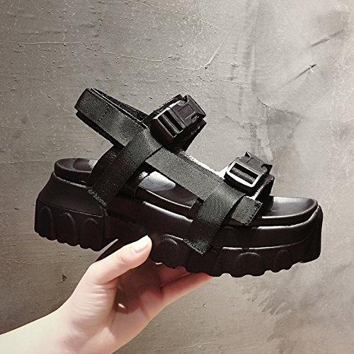 zapatos estudiante espesor deportes ligero de punta romanos zapatos sandalias mujer nuevos abierta aire plataforma de mujer SOHOEOS al zapatos ocasion libre mujer verano negro de de inferior playa planos de w1gHxY
