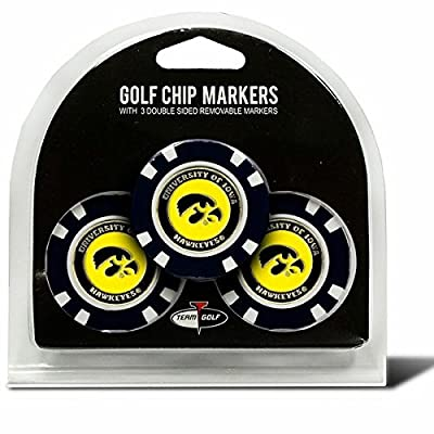 Set of 3 University of Iowa Hawkeyes Poker Chips with removable Golf Ball Markers