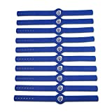 GoToTags NFC Tag - Adjustable Silicone Wristband - NTAG213 - Blue - Regular Thickness - 10 Pack