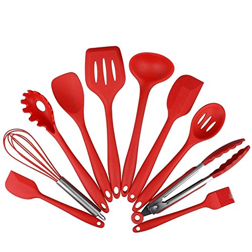 Hihamer Kitchen Utensils - 10 Piece Silicone Cooking Utensil Set -Nonstick Cookware Kitchen Utensil Set includes Spoon, Egg Whisk, Serving Tong, Spatula Tools, Pasta Server, Ladle, Strainer (Red) by Hihamer