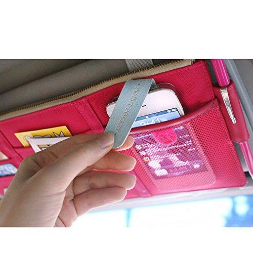 Simmer Stone Multi-function Colorful Auto Car Visor Vehicle Sun Visor Storage /Tissue Bag Holder A09-4-012(pink)