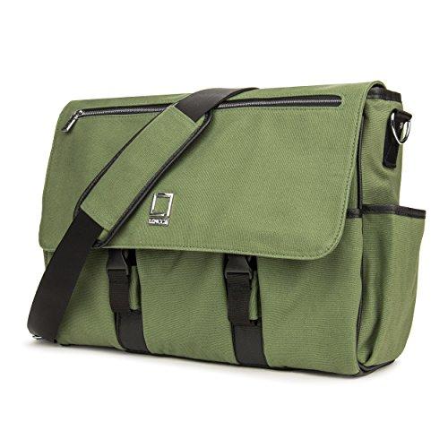 Lencca LENCammaGRN Professional Canvas Camera Messenger Bag with Removable Padded Shoulder Strap (Forest Green)