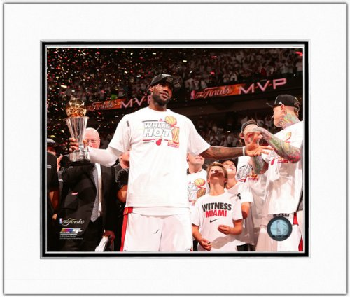 Ray Allen Matted Photo - LeBron James Miami Heat 2013 NBA Finals MVP Trophy Double Matted Photo 11x14