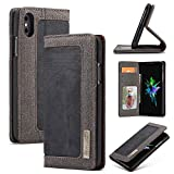 iPhone Xs Max Case, [Denim Series Wallet Case] Premium Canvas Denim Flip Folio Protective Case with Stand (Color : Black)
