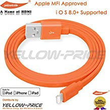 Lightning Cable,Apple MFi Certified Flat USB Charge & Sync Cord with 8-Pin Lightning,compatible with IOS9-orange