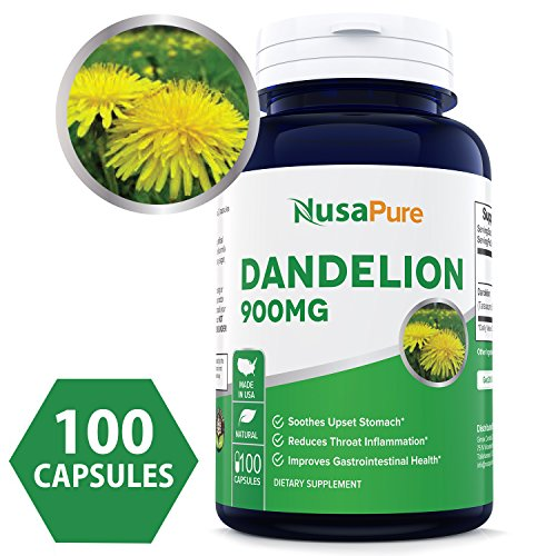 Best Dandelion 900mg 100 Capsules (NON-GMO & Gluten Free) Taraxacum Officinale - Helps To Detox Cleanse Kidney, Liver & Whole Body - 450mg per Caps ★★★100% MONEY BACK GUARANTEE!★★★ - Root 100 Tablets