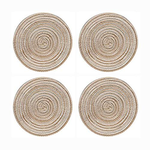 POPU Table Mats Round Braided Woven Placemats Heat Resistant Place Mats for Kitchen Table 14 Inch Set of 4 Beige Color
