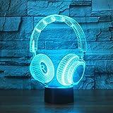 Tissen 3D Headset Headphone Night Light 7 Colors Mood Light Touch Switch USB Table Desk LED Light Christmas Present Kids Home Party Birthday Christmas Gift