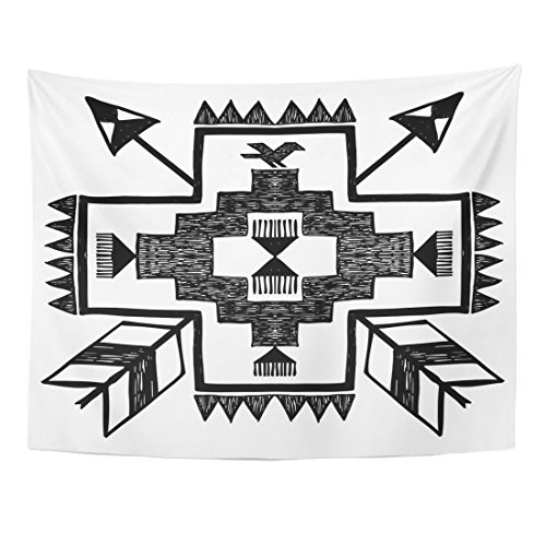 VaryHome Tapestry Navajo Native American Style Tribal in Black and White Aztec Arrow Home Decor Wall Hanging for Living Room Bedroom Dorm 60x80 Inches
