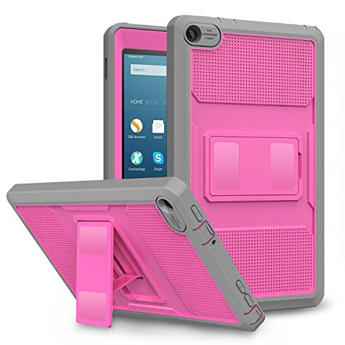 MoKo Case for Fire HD 8 2016 Tablet - [Heavy Duty] Full Body Rugged Cover with Built-in Screen Protector for Amazon Fire HD 8 (Previous 6th Generation - 2016 Release ONLY), Magenta & Gray